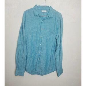 Uniqlo 100% Linen Long Sleeve Button Front Shirt